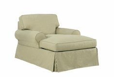 Camden Slipcover Two Arm Chaise Lounge