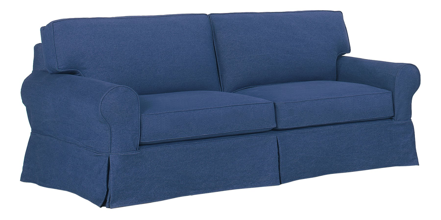 Denim Slipcovered Sofa With Chaise & Ottoman