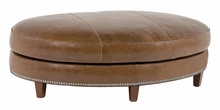 Cameron Oval Leather Ottoman With Nailhead Trim