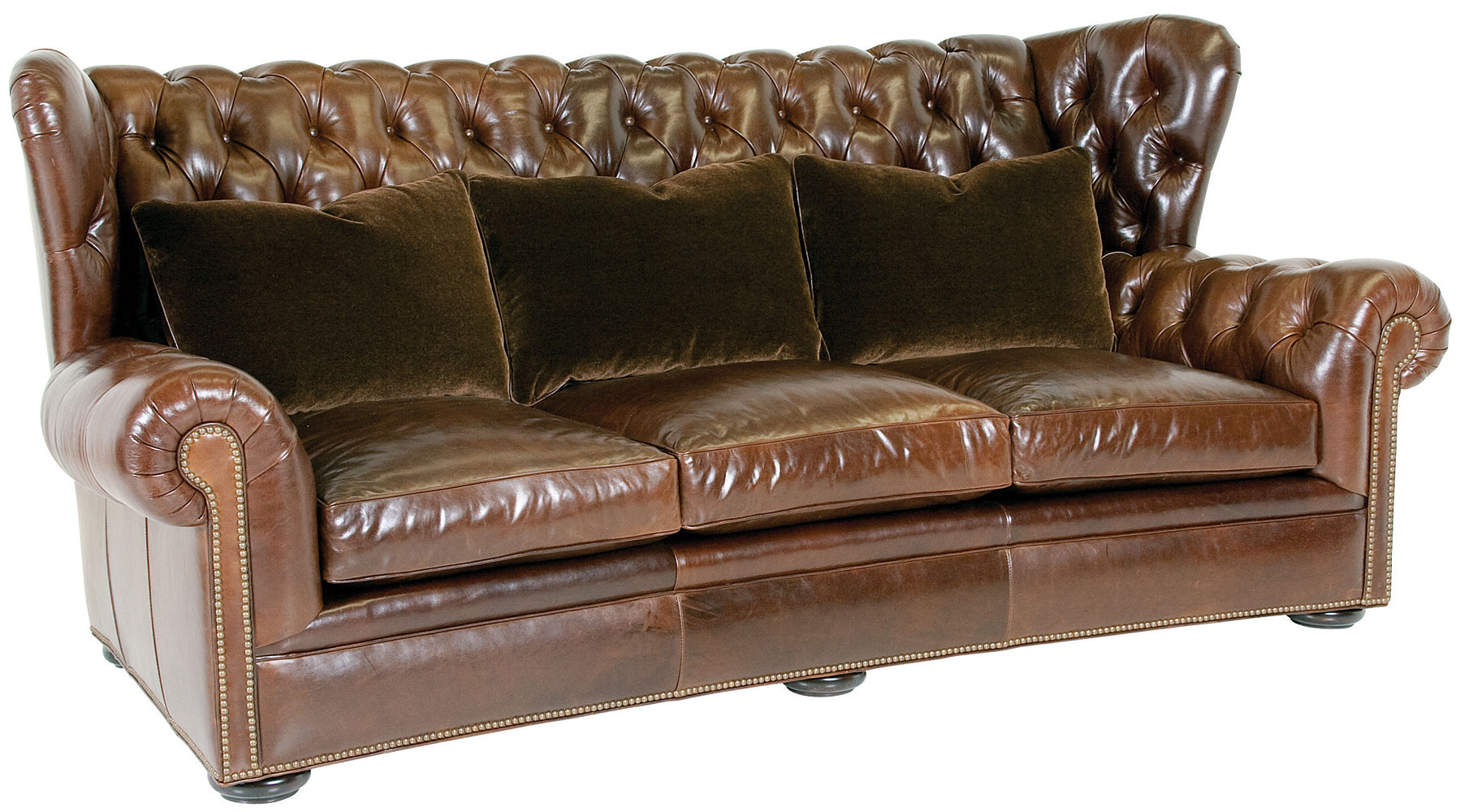 Leather Wingback Chesterfield Sofa With Nailhead Trim