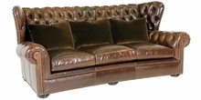 Carmichael Oversized Leather Tufted Wingback Couch