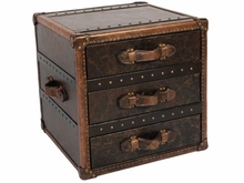 """Finnegan """"Ready To Ship"""" Three Drawer Leather Storage End Table"""