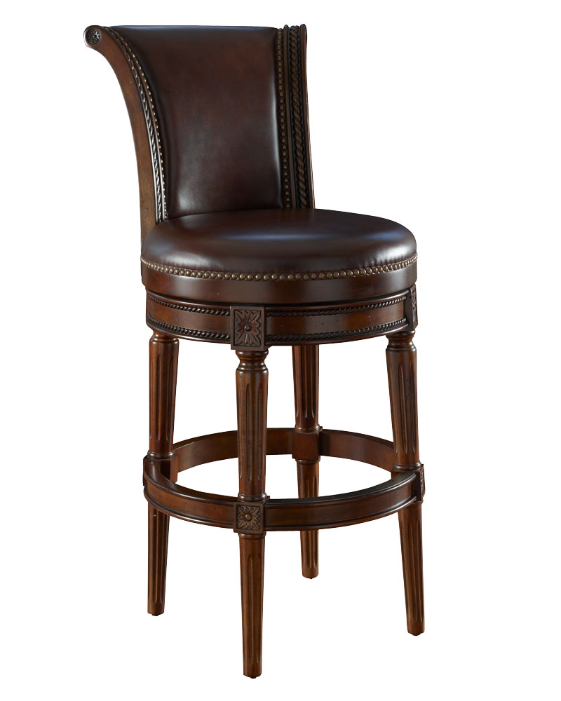 Brown Leather Swivel Bar Stool Collection W Decorative