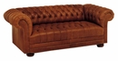 "Chesterfield ""Designer Style"" Tufted Leather Studio Sofa"