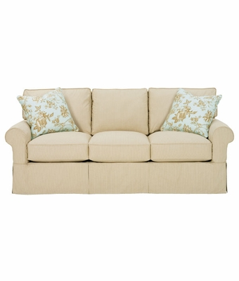 Casual Slipcover Queen Sleeper Sofa w 2 Accent Pillows