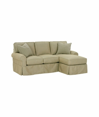 designer style slipcovered small reversible chaise sectional
