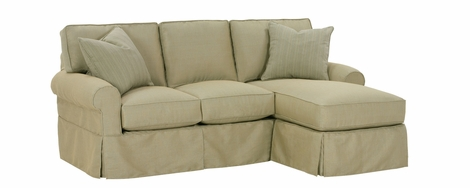 Small Slipcovered Sectional Sofa W Reversible Chaise