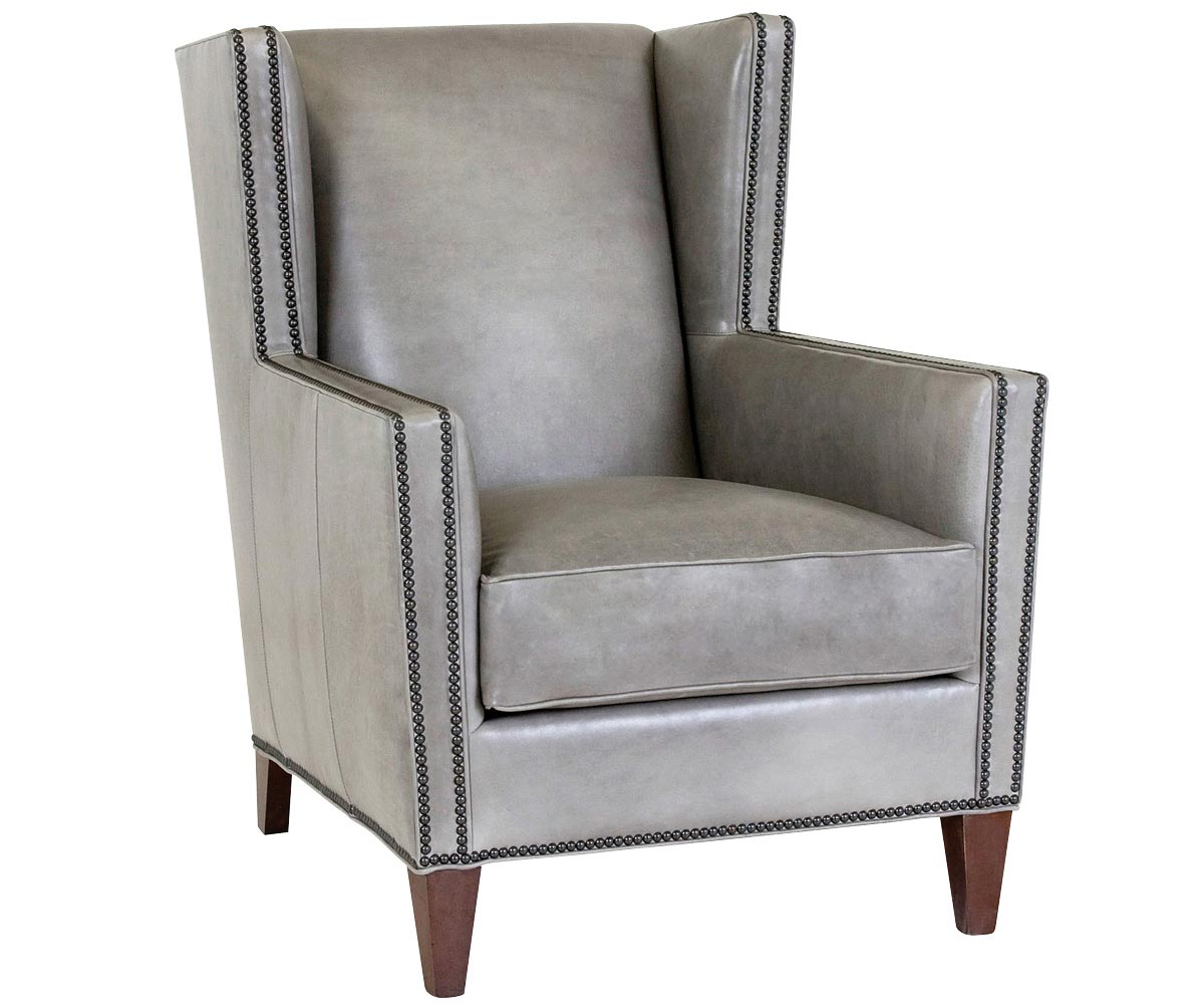 Designer Leather Chairs: Wing Back Leather Chair With Nailhead Trim