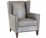Clyde Leather Wingback Accent Chair With Nail Trim