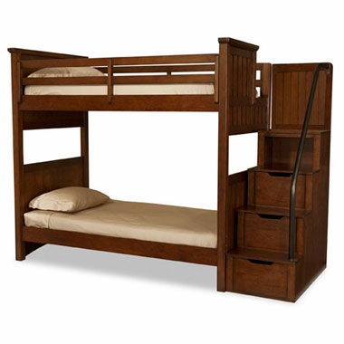 Boys Rustic Twin Over Twin Bunk Bed W Storage Steps
