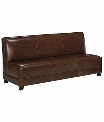 armless leather tight back settee sofa w tapered legs