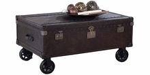 """Conway """"Ready To Ship"""" Leather Storage Trunk w/ Rolling Casters"""