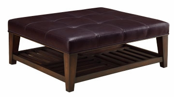 Leather Square Cocktail Table Ottoman With Wood Storage