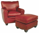"Crowley ""Designer Style"" Oval Arm Leather Club Chair w/ Nailhead Trim"