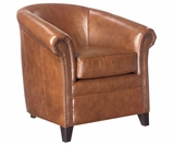 Gardner Leather Barrel Back Tub Accent Chair