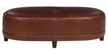 Delaney Leather Oversized Oval Cocktail Bench Ottoman