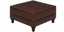 Devon Leather Large Square Storage Ottoman