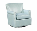 "Dominique ""Quick Ship"" Leather 360 Degree Swivel Accent Chair"