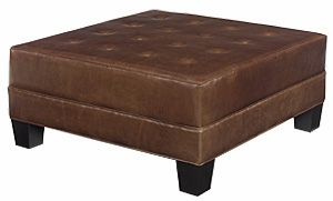 Large Square Leather Ottoman Coffee Table Club Furniture
