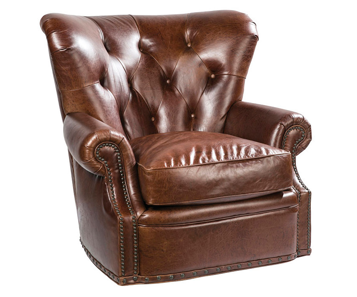 Tufted Leather Chesterfield Swivel Accent Chair Club