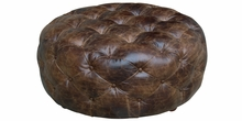 "Earle ""Quick Ship"" Round Button Tufted Leather Ottoman"