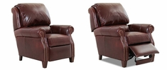 Edgar Leather Recliner Armchairs With Nailhead Trim