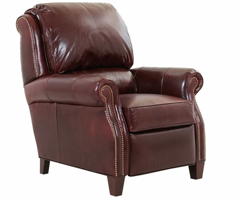 Edgar Leather Reclining Club Chair w/ Decorative Nailhead Trim