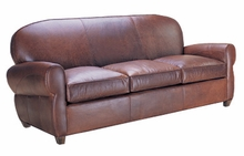 Edison Art Deco Round Back Leather Queen Sofabed
