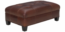 Emerson Leather Oversized Button Tufted Coffee Table Bench