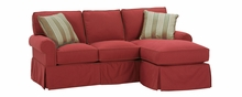 Emily Small Faux Slipcover Sectional With Reversible Chaise