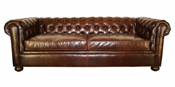 Leather Tufted Back Chesterfield Queen Sleep Sofa Club