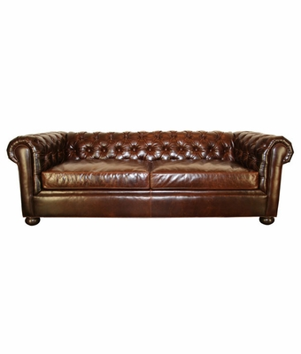Leather Tufted Back Sofa w Rolled Arms & Bun Feet