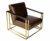 "Erik ""Quick Ship"" Bronze Frame Leather Sling Strap Arm Accent Chair"