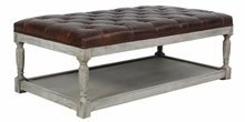 "Esmond ""Quick Ship"" Leather Tufted Ottoman"