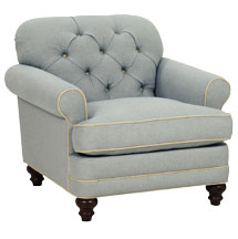 "Evelyn ""Designer Style"" Fabric Upholstered Chair w/ Tufted Back"