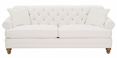 "Evelyn ""Designer Style"" Fabric Upholstered Sofa w/ Tufted Back"