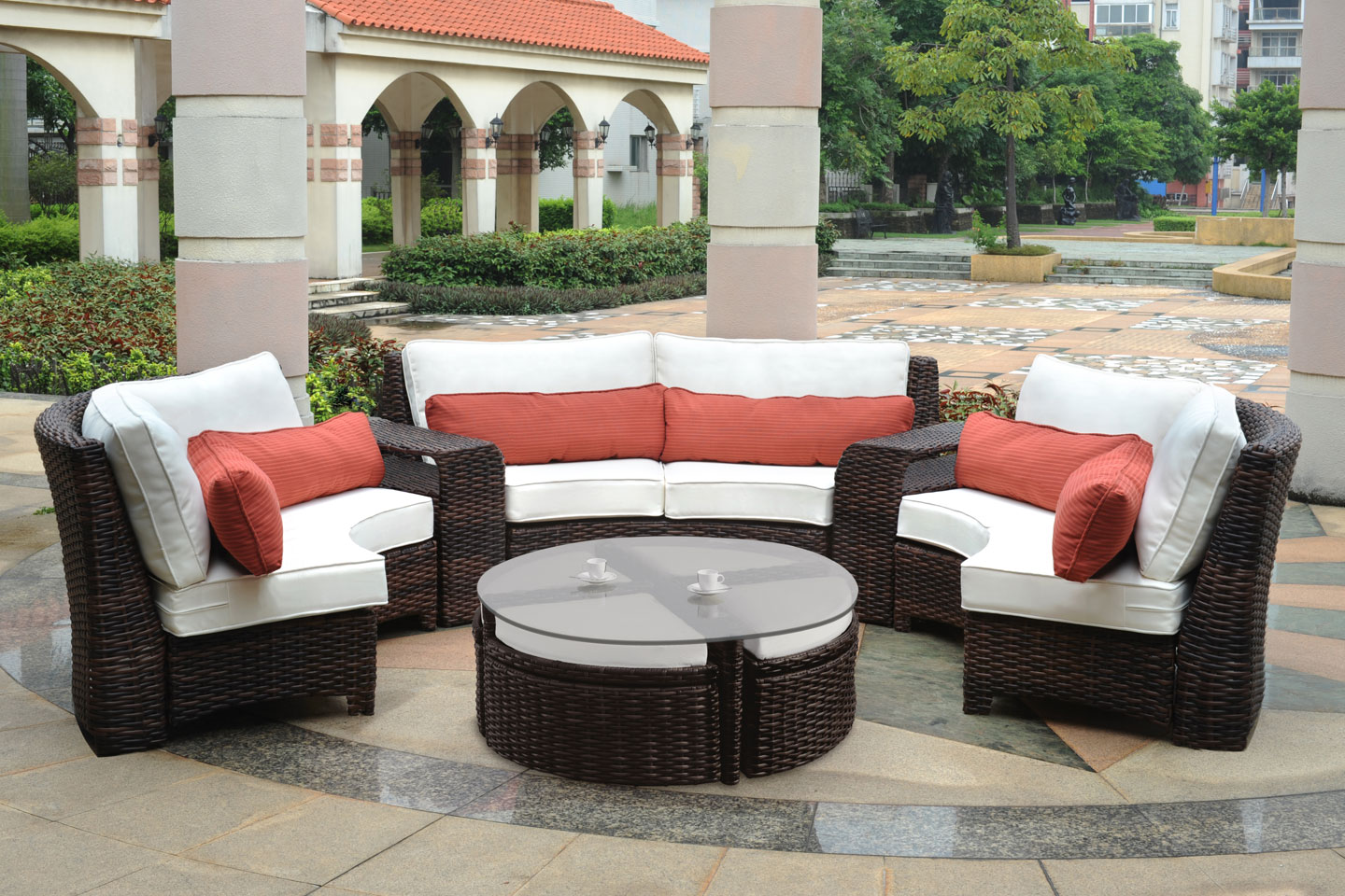 Patio Backyard Furniture :  Outdoor Patio Seating > Fiji Curved Outdoor Resin Wicker Round Patio