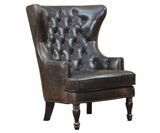"Flemming ""Quick Ship"" Leather Tufted Accent Chair"