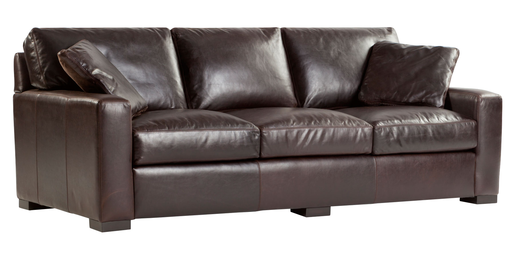 Contemporary Quick Ship Deep Seat Leather Sofa Group