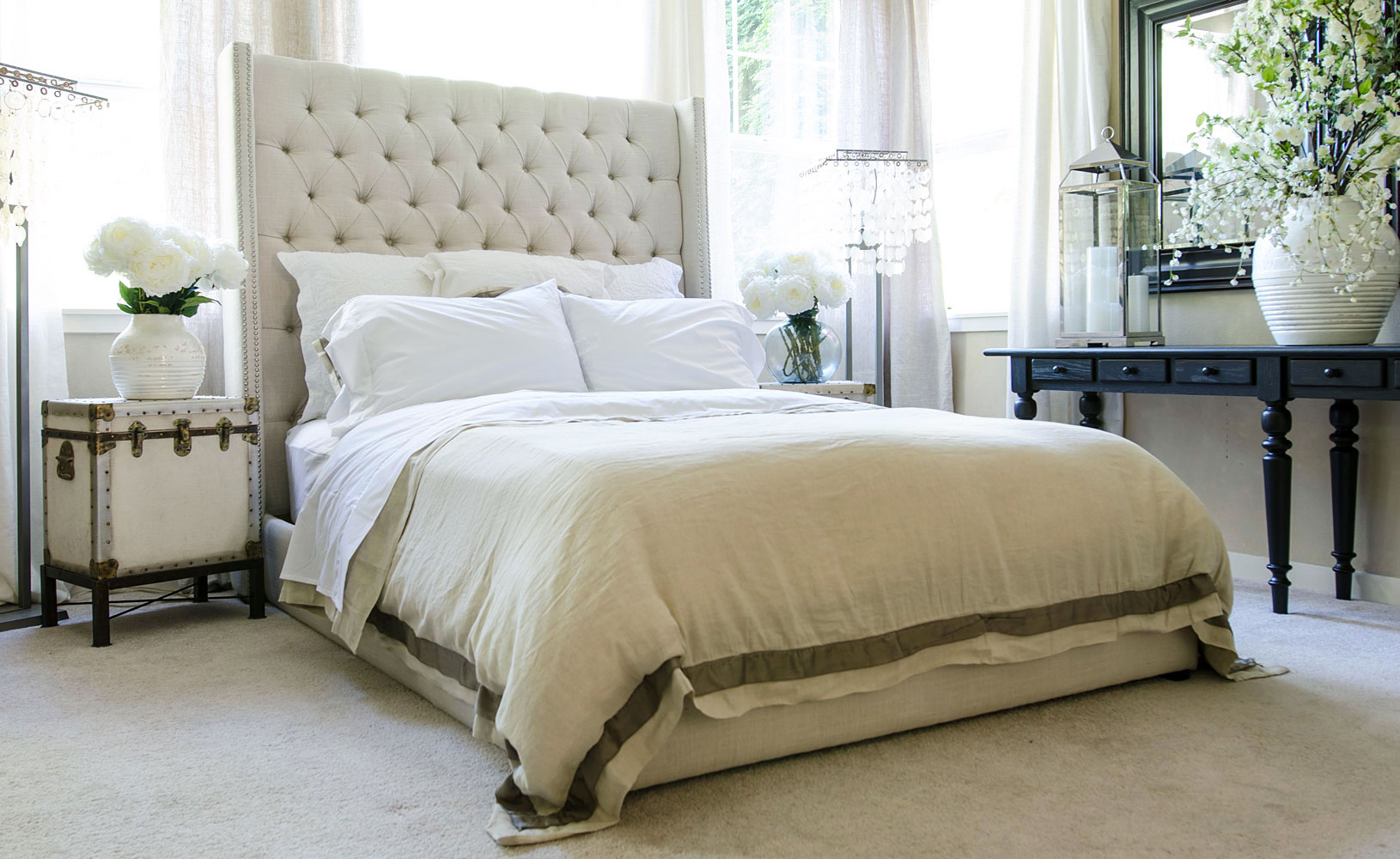 Fuller Tall Quot Ready To Ship Quot Fabric Upholstered Tufted