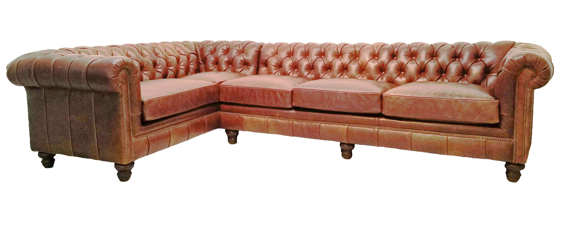 Galloway Chesterfield Leather Sectional Leather