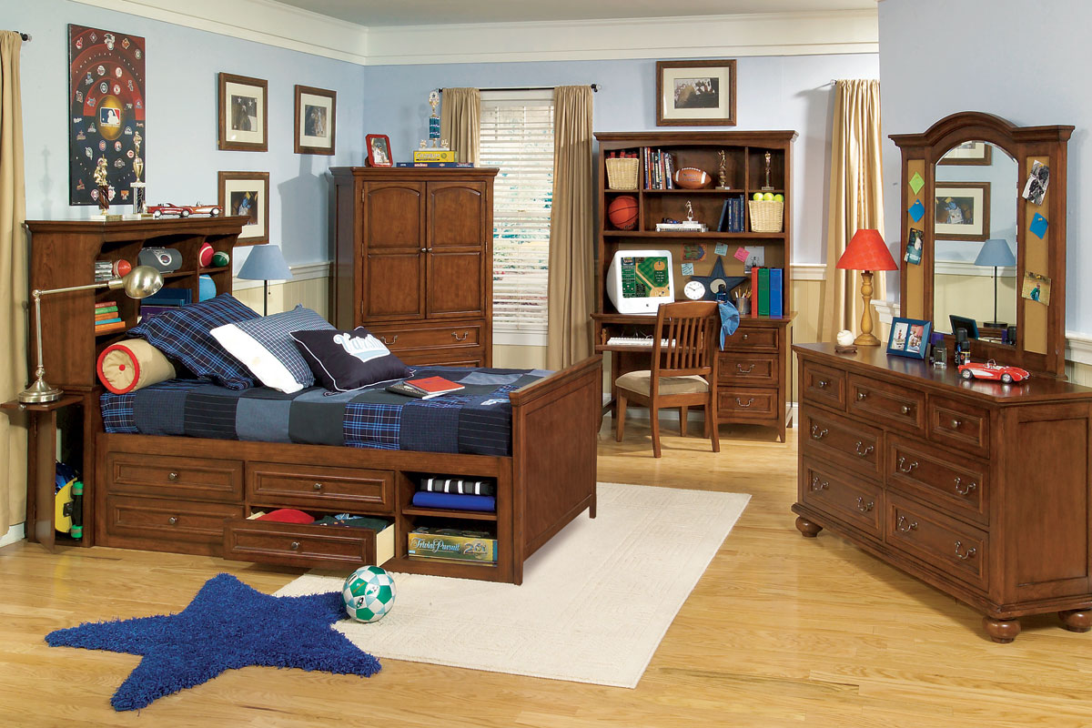 Teen Bedroom Furniture - Garrett Twin Or Full Boys Wood Bedroom Furniture Set