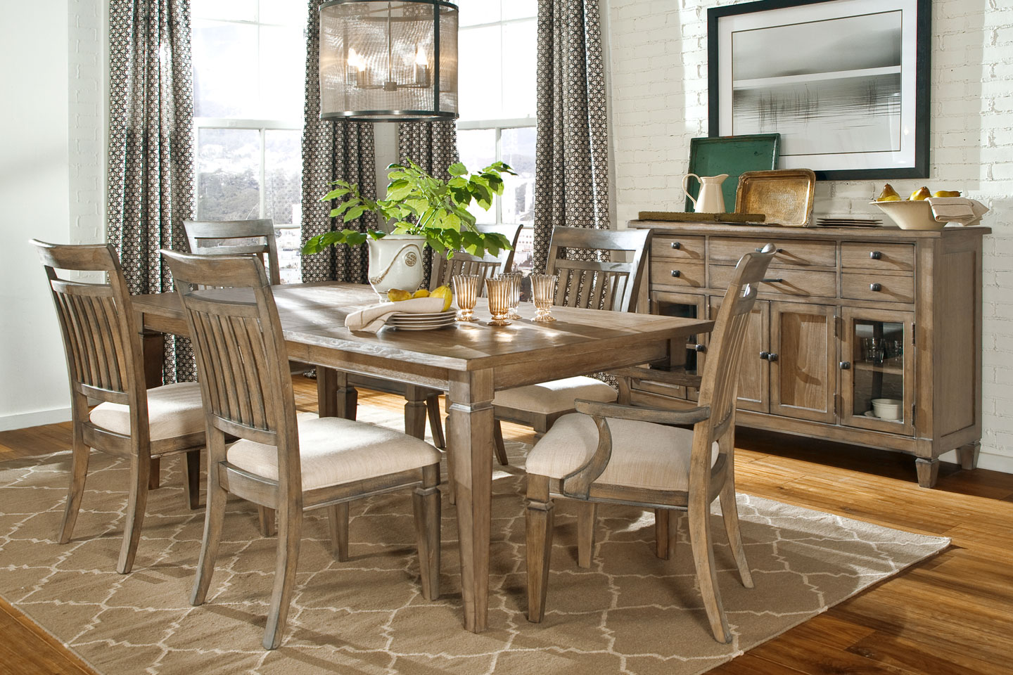 Dining gt; Fine Dining Furniture gt; Gavin Rustic Formal Dining Room Set
