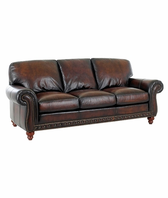 Traditional Style Old World Leather Sofa W Rolled Arms