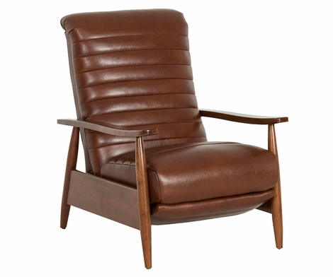 Giles Mid-Century Modern Leather Recliner With Ribbed Back