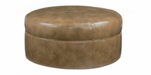 Goodwin Round Drum Style Leather Coffee Table Ottoman