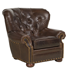 """Hadley """"Designer Style"""" Leather Accent Chair w/ Tufted Back"""