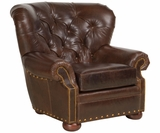 Hadley Leather Accent Chair With Tufted Back