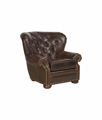 Button Tufted Leather Wingback Arm Chair W Nail Head Trim