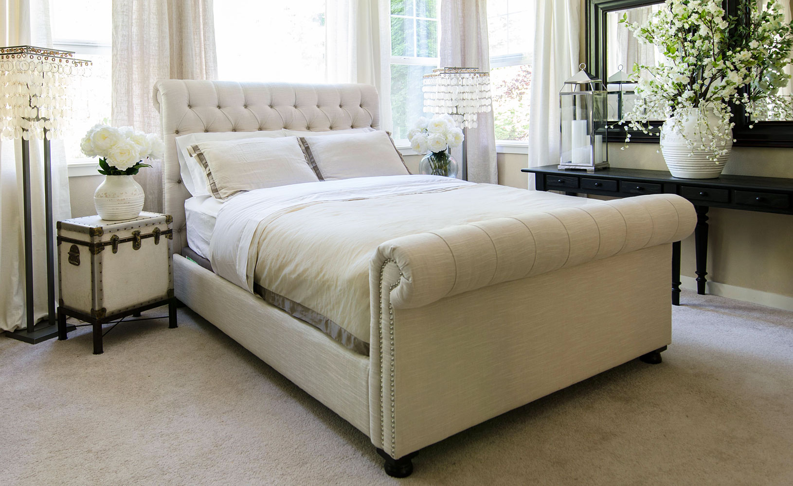 chesterfield style fabric tufted bed club furniture